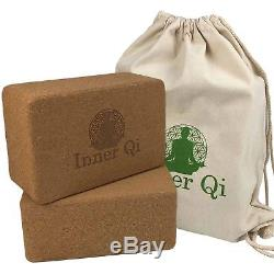 2 Pack Cork Yoga Blocks Set with Carrying Bag Fitness and Exercise Accessories
