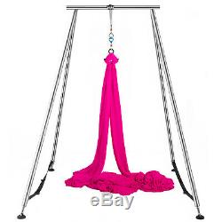 Aerial Trapeze Stand Portable Yoga Swing Bar Hammock Bracket with39ft Aerial Silk