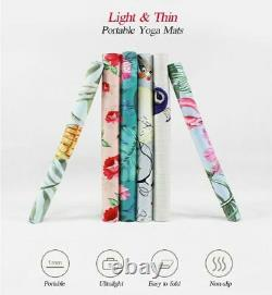 Portable Yoga Mat 18368cm1mm Thick Natural Rubber Suede Colorful Pattern Print
