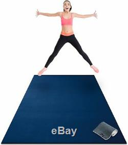 Premium Large Exercise Mat 8' x 4' x 1/4 Thick Fitness Workout Gym Mats Blue