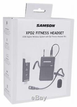 Samson Stage XPD2 USB Receiver Beltpack with QE Wireless Fitness Headset Yoga/Spin