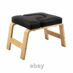 Yoga Headstand Bench Chair Stool Wood Frame PU Pads Fitness Equipment Black New