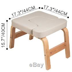 Yoga Inversion Bench Headstand Chair Beech Cotton Comfortable Exercise Stable