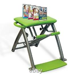 Pilates Pro Chair By Life's A Beach Green Home Workout Equipment 4 Dvd's New